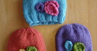 Free Knitting Pattern! Baby In Bloom Hats