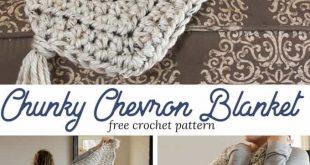 Chunky Chevron Crochet Blanket Pattern - Recsued Paw Designs