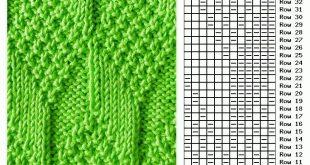 Moss Diamond and Lozenge knit stitch pattern