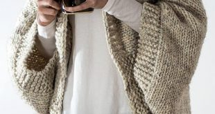 Knitting Pattern for Easy 18 Hour Cardigan - Cocoon cardigan knits up in about 1...