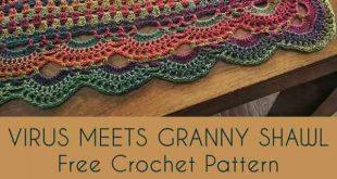 Virus Meet Granny Shawl Free Crochet Pattern